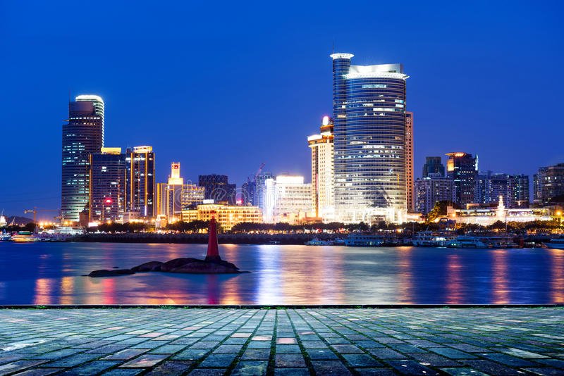 China Xiamen night scene. China Xiamen city night, seaside skyscrapers royalty free stock photography