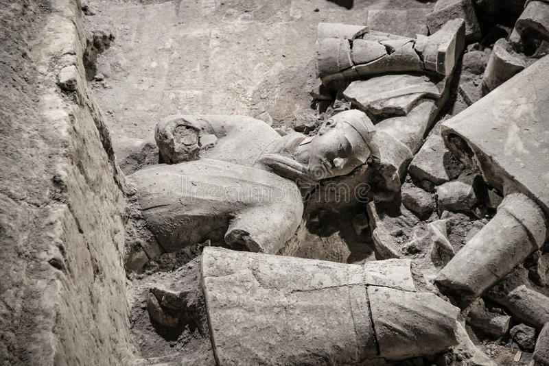 CHINA, XIAN - 14 DE MARÇO: Ping Ma Yong, exército da terracota o 14 de março fotografia de stock