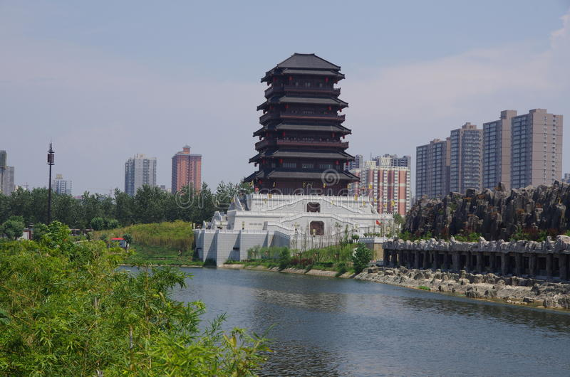 China xian lake park in Seoul. China's shaanxi province Seoul lake park is built on site in Seoul, along the southeast corner of wall will be automatically royalty free stock photo