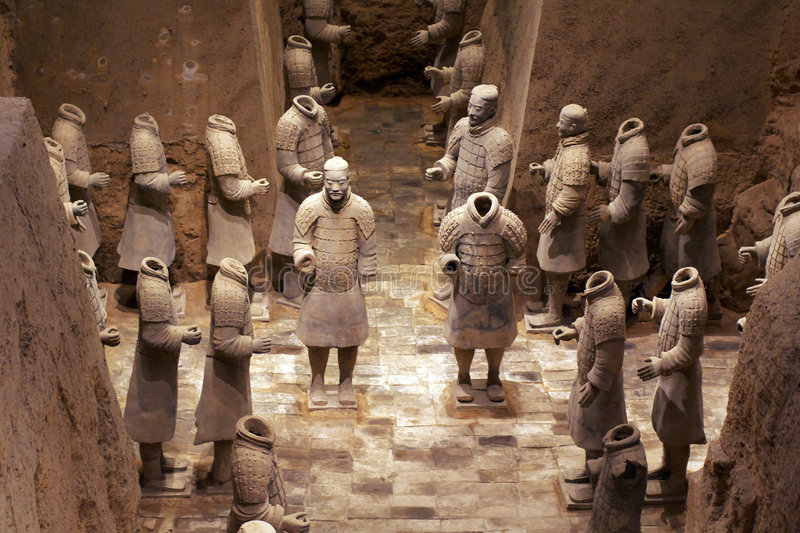 China/Xian:Terracotta Warriors and Horses. These terracotta warriors have beautiful colors and look lifelike, which are in Emperor Qin Shihuang's mausoleum royalty free stock photo