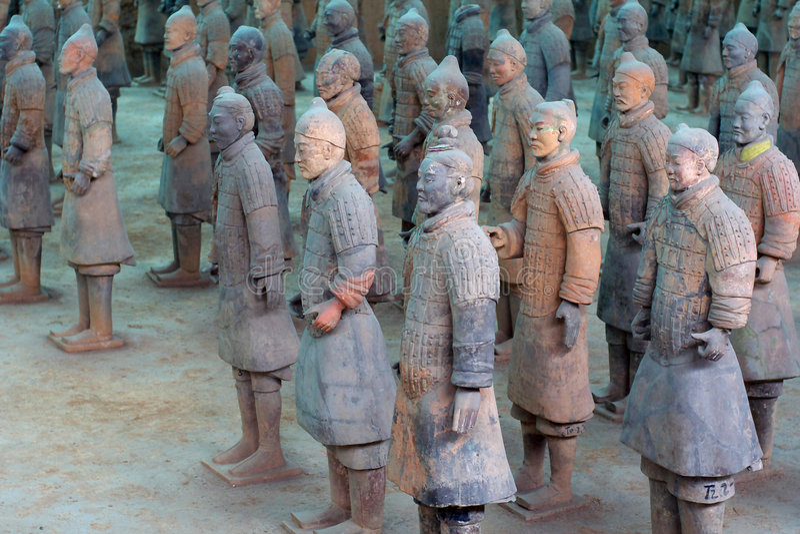 China/Xian:Terracotta Warriors and Horses. These terracotta warriors and horses in Emperor Qin Shihuang's mausoleum, xian, china royalty free stock photography
