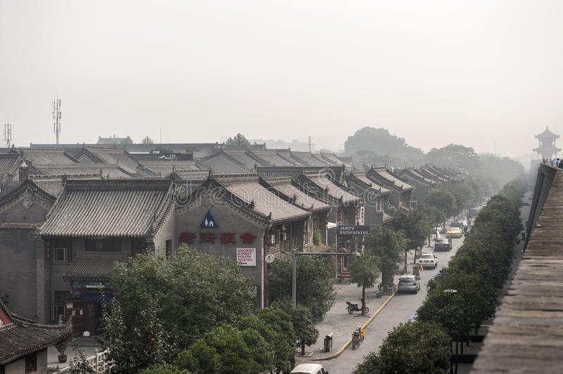 China: Xian view from the city wall royalty free stock image