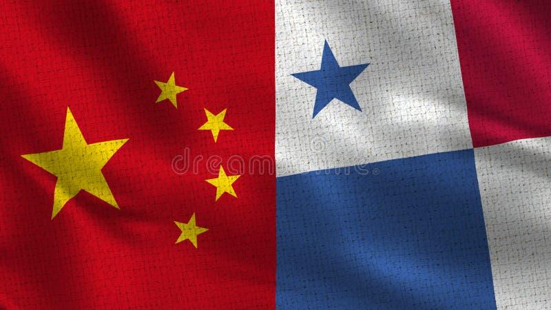 China y Panamá - dos medias banderas junto imágenes de archivo libres de regalías
