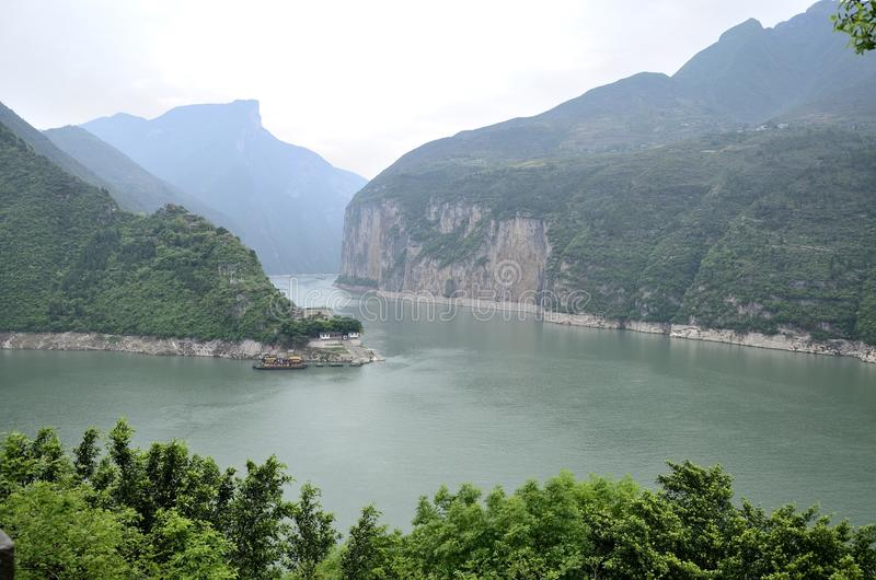 China Yangtze River Three Gorges scenic essence. Asian beauty China Yangtze Three Gorges along the Qutang gorge scene in Fengjie County royalty free stock photos