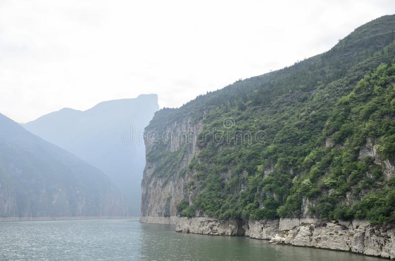 China Yangtze River Three Gorges scenic essence. Asian beauty China Yangtze Three Gorges along the Qutang gorge scene in Fengjie County stock image