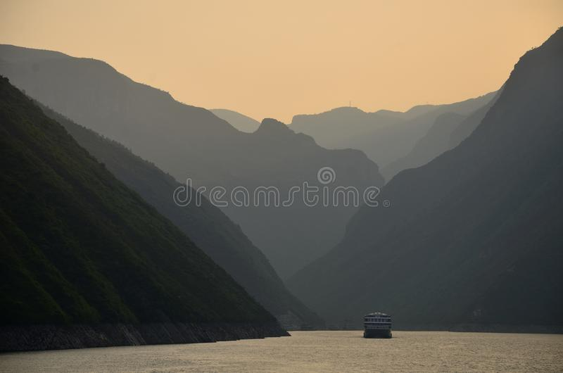 China Yangtze River Three Gorges scenic essence. Sunset and sunset scenery of the Three Gorges of the Yangtze River China Asia royalty free stock photo