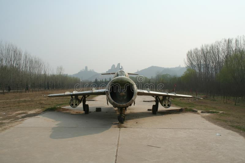 An abandoned five fighter jets for exhibition in the tourist area of the Yellow River, China royalty free stock photo