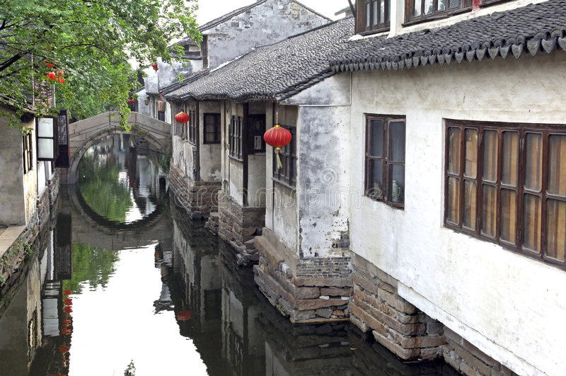 China, Zhouzhuang: la Venecia del thec del este imagenes de archivo