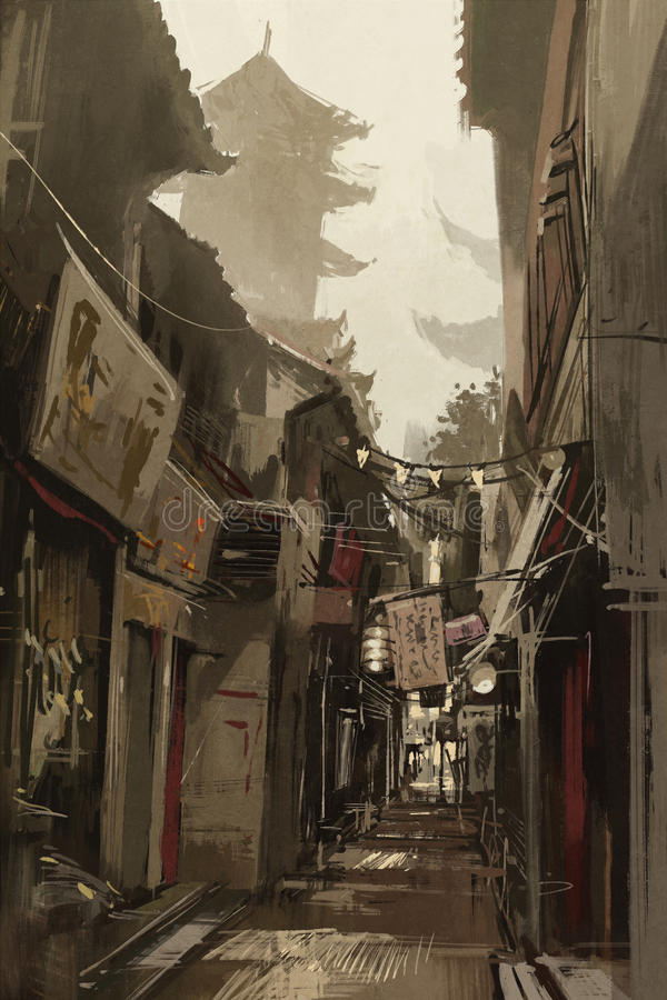 Chinatown alley with traditional Chinese buildings royalty free illustration