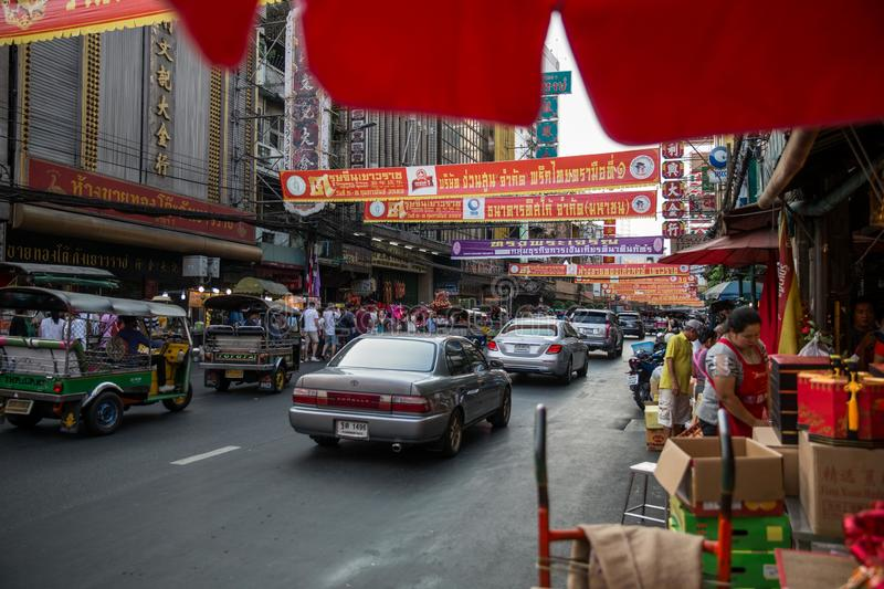 Chinatown in Bangkok on chinese New Year eve stock images