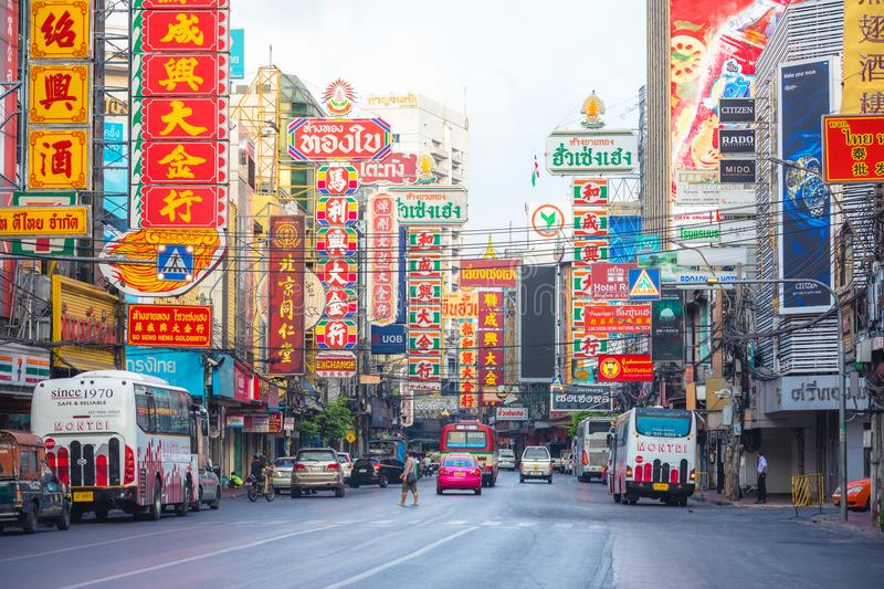Chinatown , Bangkok , Thailand -March 26 , 2017: street with colored billboard in Yaowarat road , famous place of Chinatown royalty free stock image