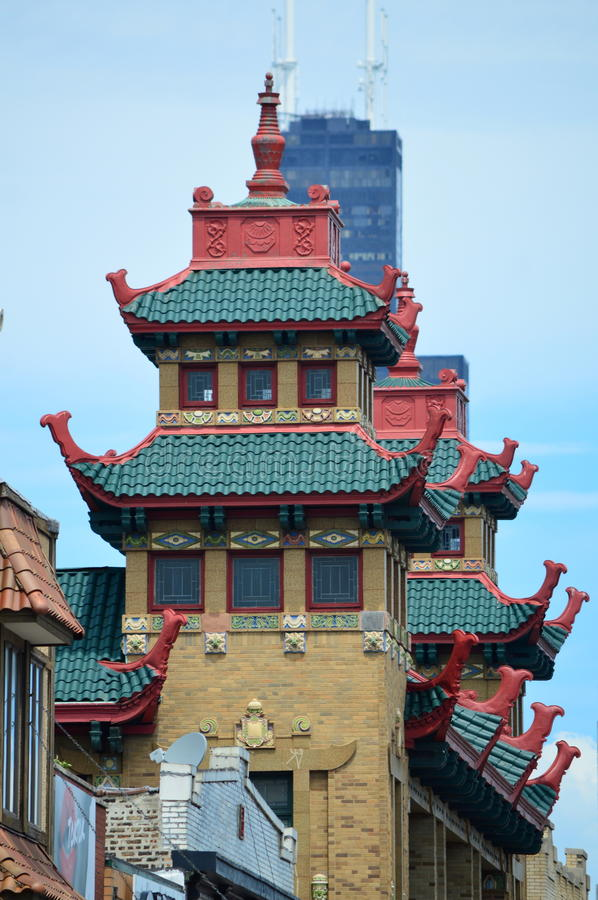 Chinatown in Chicago royalty free stock photography