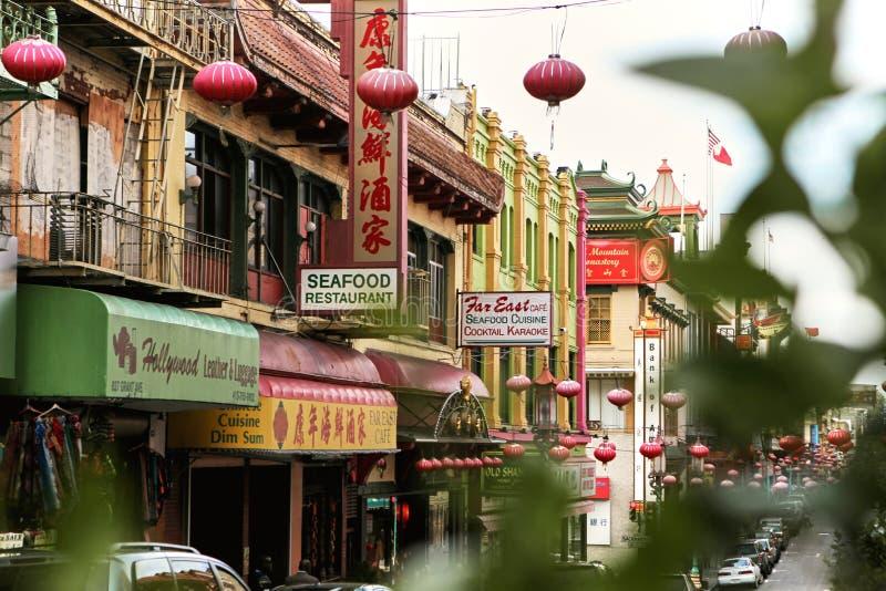 Chinatown colorido en San Francisco, California foto de archivo