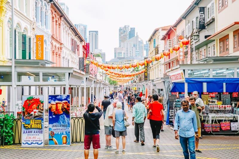 Chinatown con le costruzioni, i ristoranti e la decorazione cinesi notevoli immagine stock