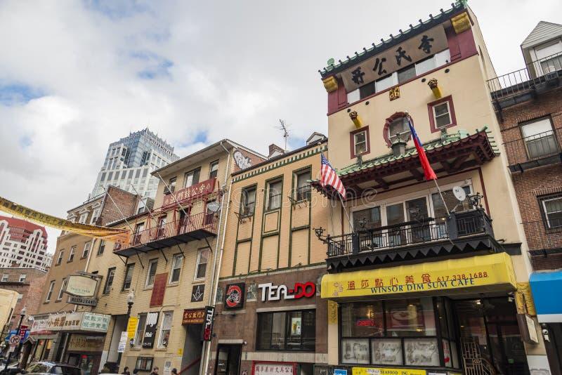 Chinatown de Boston est le seul secteur de survie Chinatown dans la région de la Nouvelle Angleterre des Etats-Unis images stock