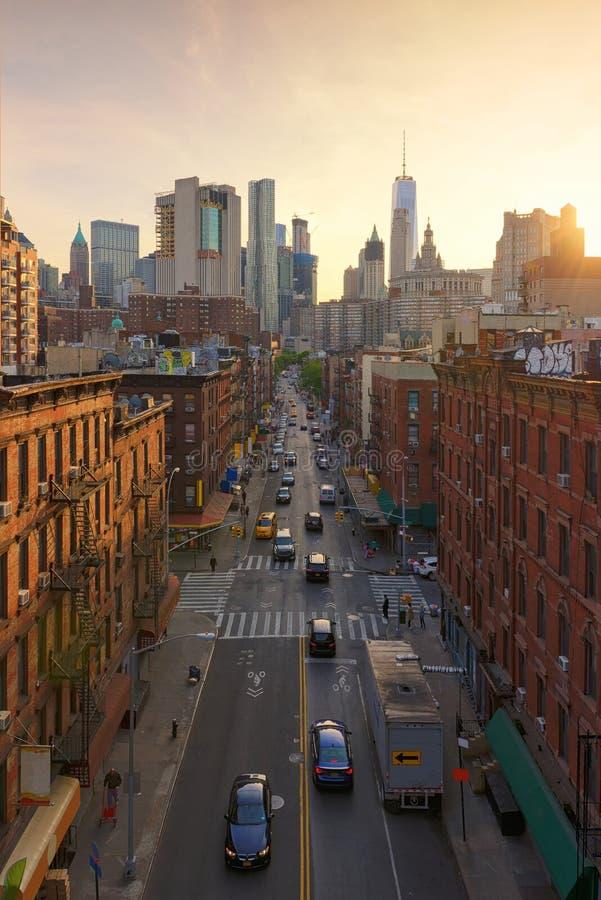 Chinatown en la puesta del sol, Nueva York, los E.E.U.U. imagenes de archivo
