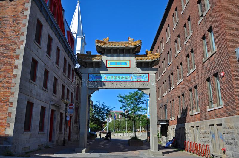 Chinatown Gateway in Montreal, Canada. Chinatown west Gateway at the entrance of Montreal Chinatown at Rue de la Gauchetiere O in Montreal, Quebec, Canada royalty free stock photography
