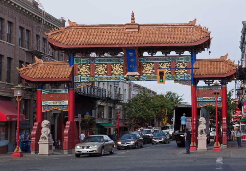 Chinatown-Gatter Victoria Kanada stockfotografie