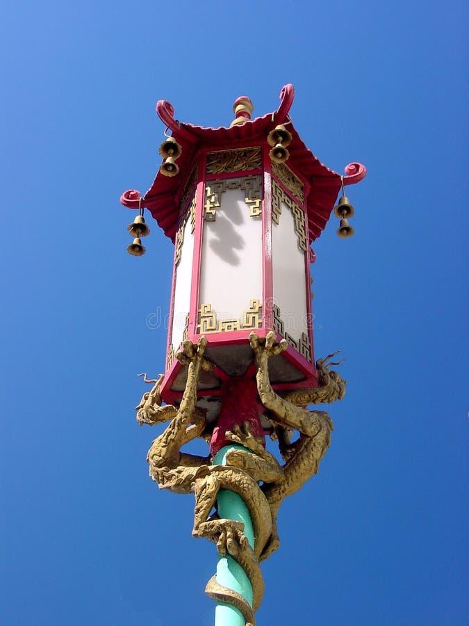 Chinatown lantern post stock image