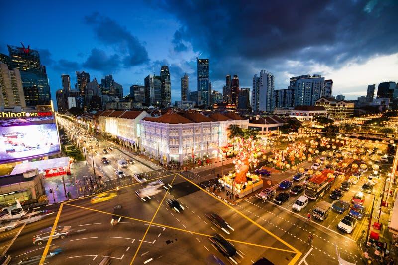 Chinatown leuchten lizenzfreie stockbilder