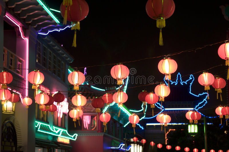 Chinatown lights stock photos