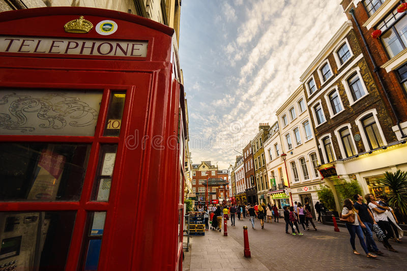 Chinatown in London with red phone booth stock photo