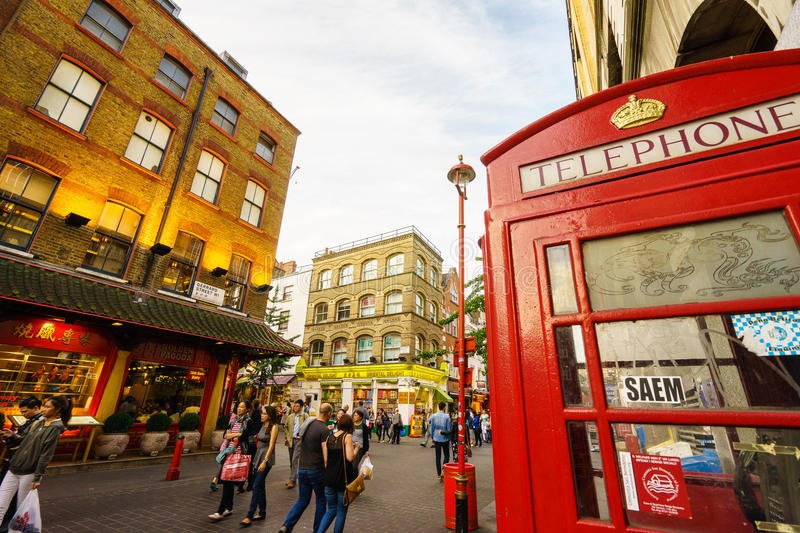 Chinatown in London with red phone booth stock images