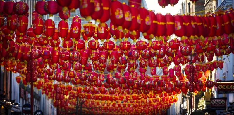 Chinatown, Londra, Regno Unito, il 7 febbraio 2019, Massachussets delle lanterne cinesi immagine stock libera da diritti