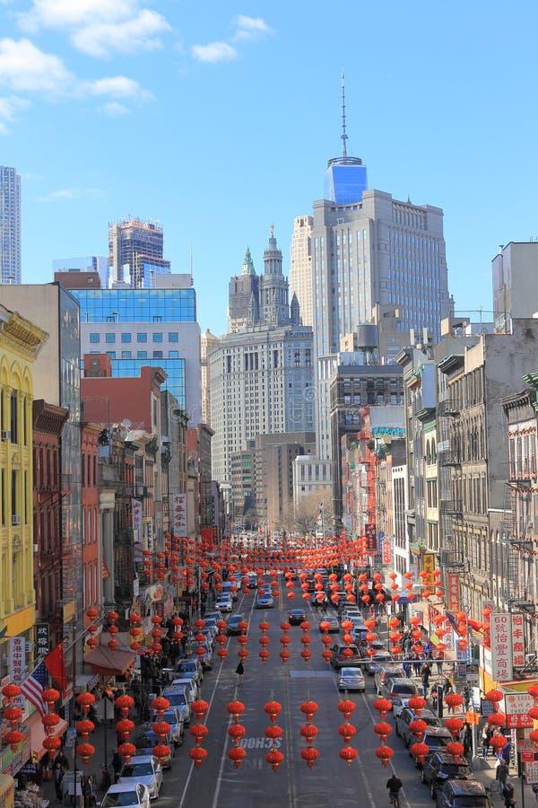 Chinatown mit roten Laternen, New York lizenzfreies stockfoto