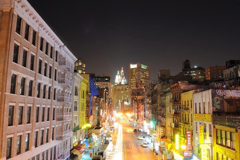 Chinatown New York City. View down east broadway at night in New York City's chinatown royalty free stock photos