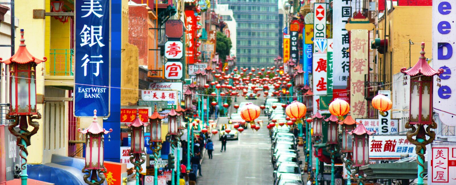 Chinatown in San Francisco California. SAN FRANCISCO, USA - MAY 19 2015:Chinatown in San Francisco California.It�s the oldest Chinatown in North America and royalty free stock photography