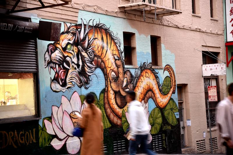 Chinatown, San Francisco, California, USA. Tiger Dragon Mural stock image
