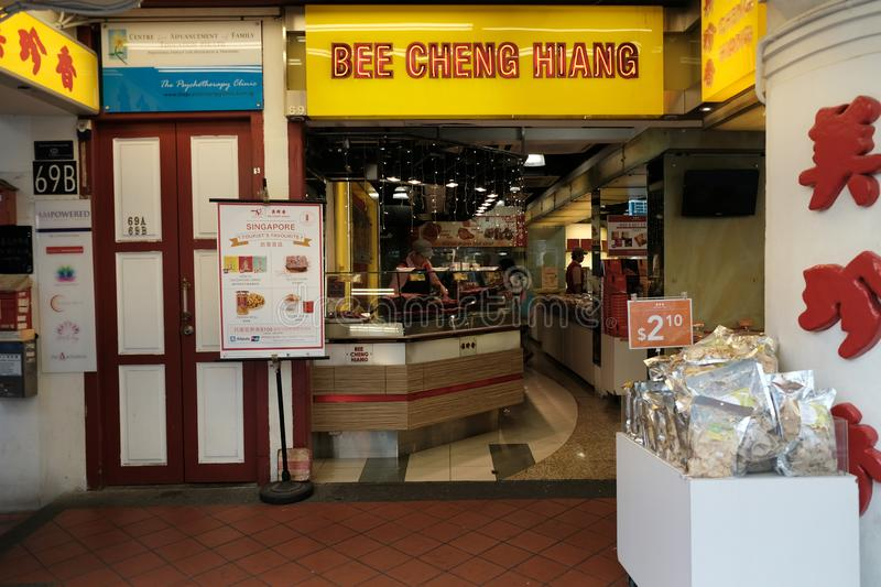 Chinatown, Singapore - March 8, 2019: Bee Cheng Hiang roasted pork pieces store at Chinatown. stock photo