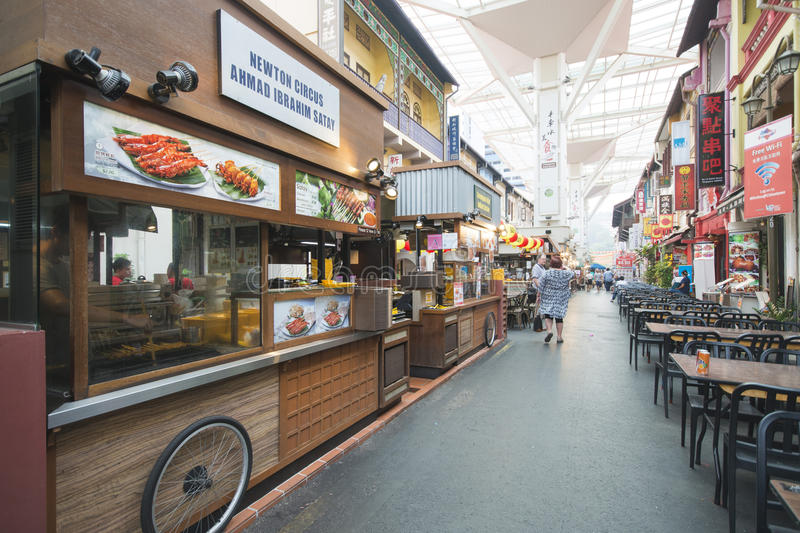 CHINATOWN, SINGAPORE - OCTOBER 12, 2015: food street zone in Chi royalty free stock photography