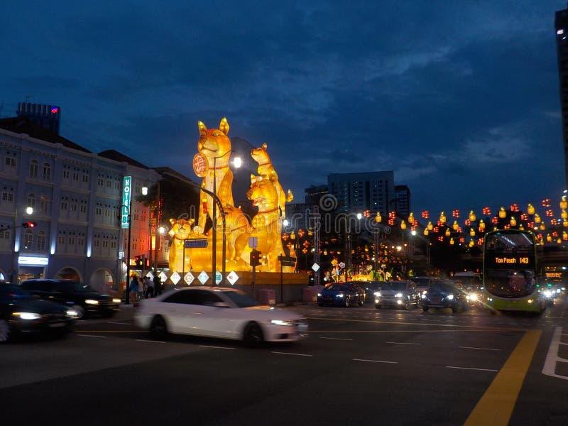 Chinatown, Singapur en la noche imagen de archivo libre de regalías