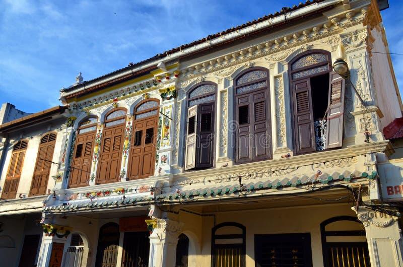 Chinatown-Straßen und -gebäude in Malakka-Stadt, Malaysia lizenzfreie stockfotos