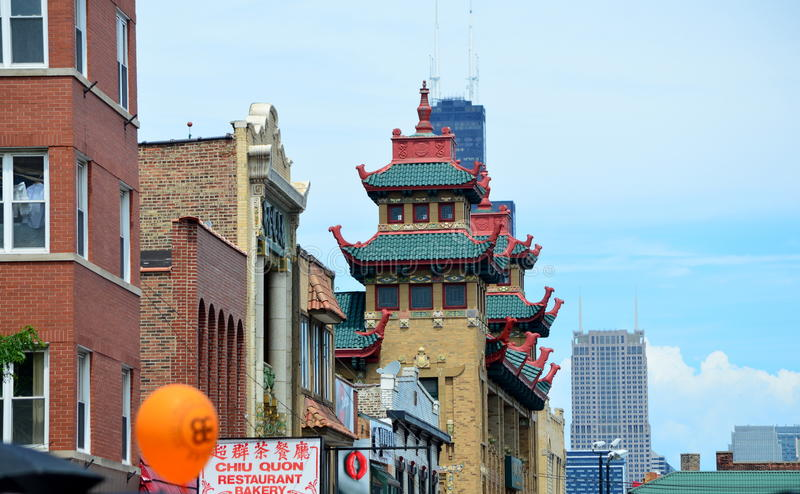 Chinatown wentworth avenue Chicago royalty free stock images