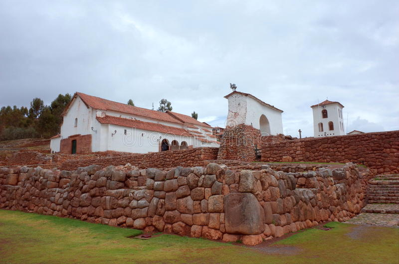 Chinchero church. Chinchero colonial church built on the site of an Inca temple stock photo