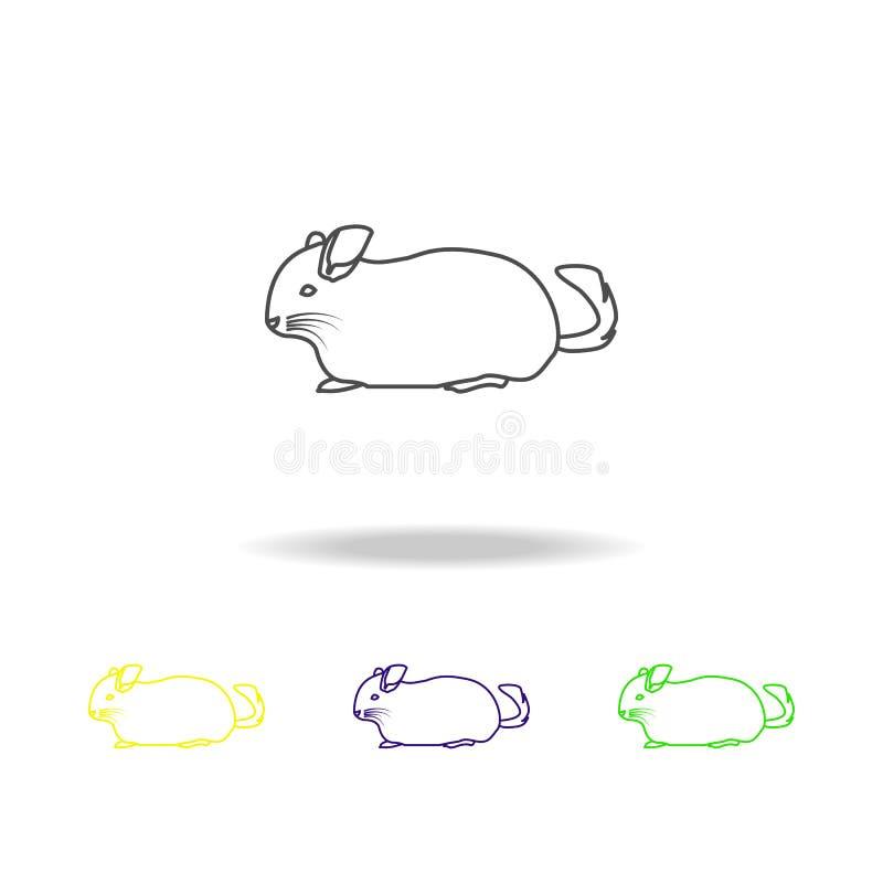 chinchila, ícones coloridos do esboço do roedor Elemento da ilustração dos roedores Os sinais e os símbolos esboçam o ícone para  ilustração stock