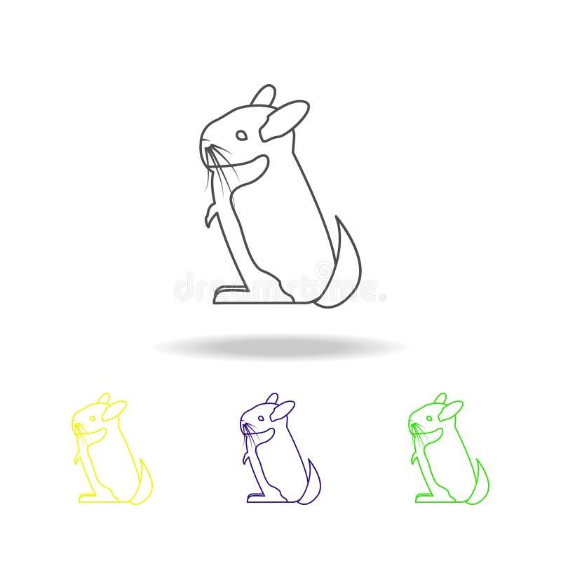 chinchila, ícones coloridos do esboço do roedor Elemento da ilustração dos roedores Os sinais e os símbolos esboçam o ícone para  ilustração royalty free