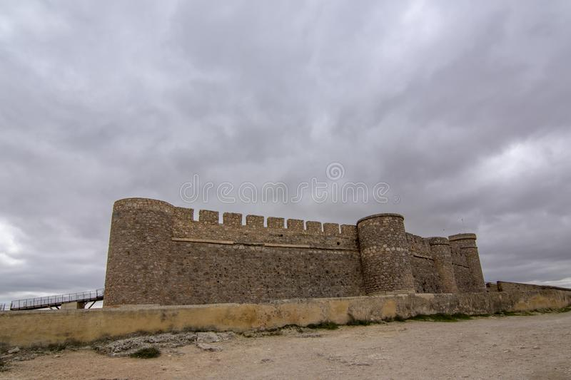 Castle of Chinchilla de Montearagon, province of Albacete, Spain. Chinchilla de Montearagon, Albacete, Spain; February 2017: view of castle of Chinchilla de stock photos