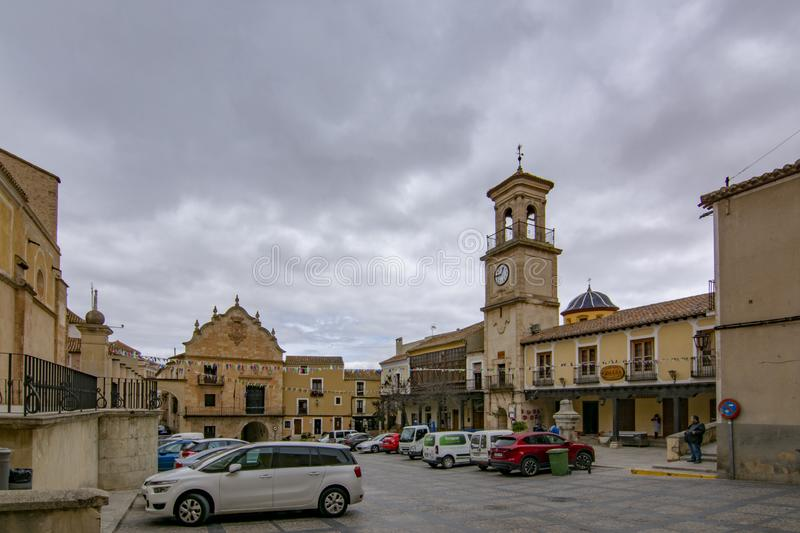View of main square of Chinchilla de Monte-Aragon. Province of Albacete. Chinchilla de Montearagon, Albacete, Spain; February 2017: View of townhall in the main royalty free stock photography