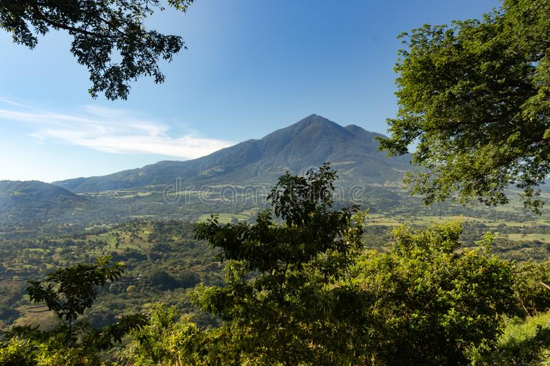 The Chinchontepec Volcano in San Vicente, El Salvador, Central America. Under blue sky in the late morning hours stock photography