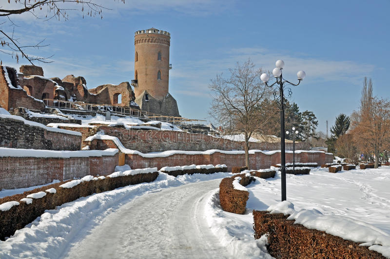 Chindia fortress snow. Snow on ancient chindia fortress in Targoviste - the former capital of Romania stock images