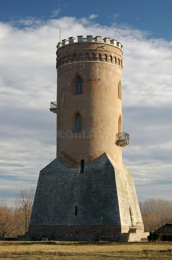 Chindia Tower from Royal Court - Targoviste, landmark attraction in Romania. Chindia Tower in late autumn. Royal Court - Targoviste, landmark attraction in stock photo