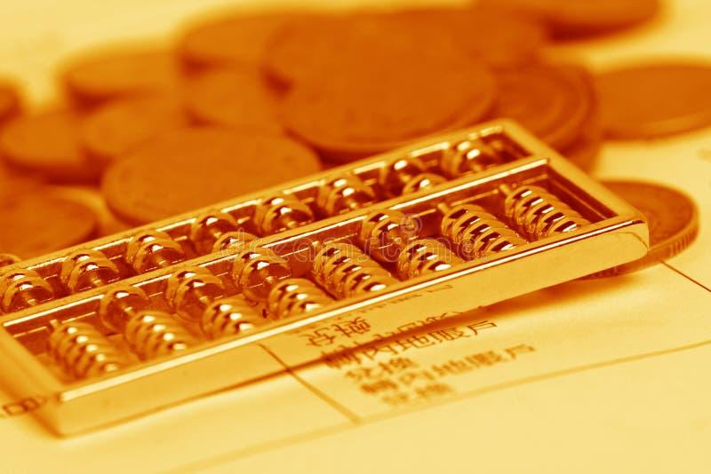 Chinees calculator en muntstuk royalty-vrije stock afbeelding