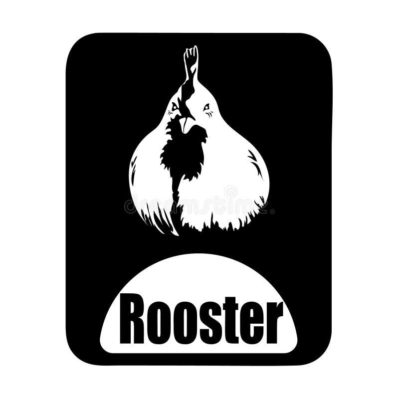 Chinees de haanhoofd van kalender dierlijk zwart-wit logotype stock illustratie