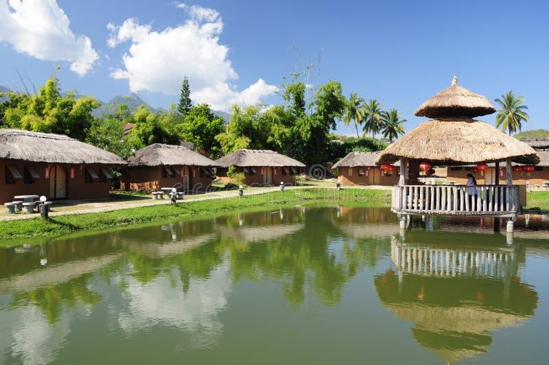 Chinees dorp bij de zoon van Pai Mae Hong royalty-vrije stock foto's