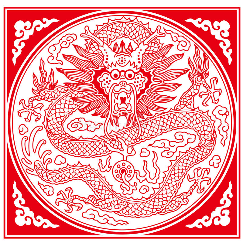 Chinees Dragon Pattern stock illustratie