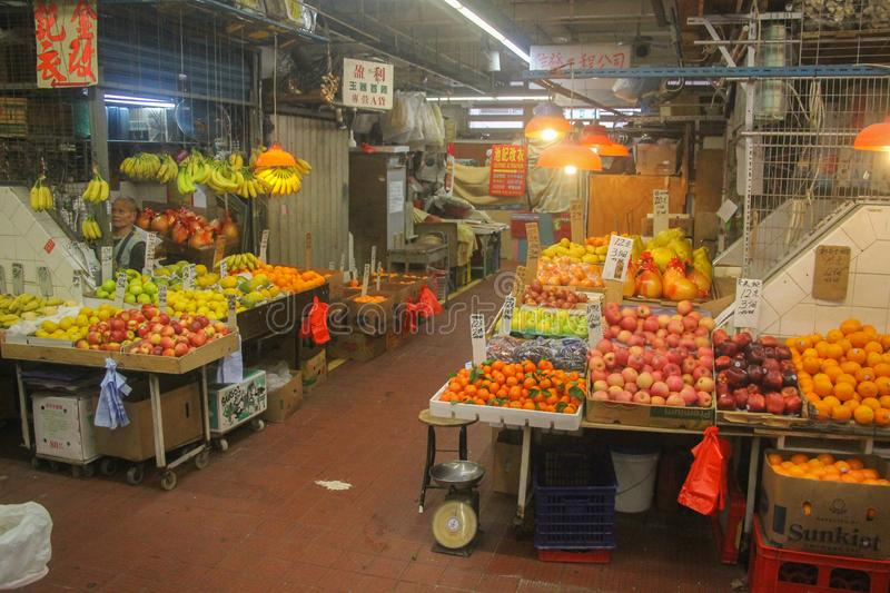 Chinees food market with fresh fruit royalty free stock photos